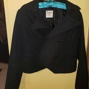 Black Old Navy Crop Pea coat, EUC